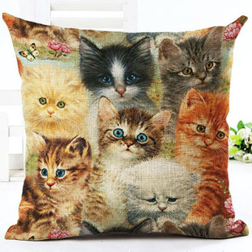2017 Factory Direct Supply Cute Farm Cat Printing Linen Square Throw Pillow Home Baby Room Decorative Cushion