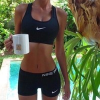 """NIKE"" Trending Women Casual Gym Sport Vest Tank Top Bra Shorts Underwear Set Two-Piece Sportswear I"