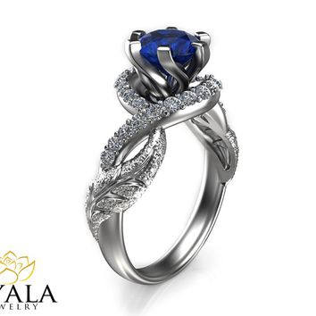 14K White Gold Blue Sapphire Ring,Designer Engagement ring,Leaf Ring,Unique Ring