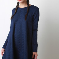 Jacquard Knit A-Line Dress