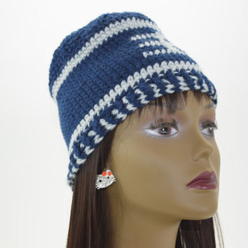 Dallas Cowboys Football Beanie, Crochet football hat
