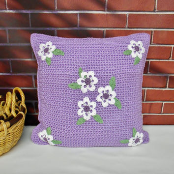 Purple Pillow Cover with White Flowers, Handmade Crochet Reversible Cover For 18 inch Throw Pillow, Embroidered Pillow Case