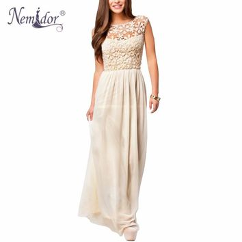 Nemidor Hot Sales Women Sleeveless Crochet Chiffon Casual Long Summer Dress Plus Size 5XL Sexy Backless Lace Party Maxi Dress