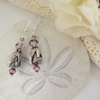 Hill Tribes Fine Silver earrings, Silver Rose Bud earrings, Sterling Hill Tribes Flower earrings, Pink Swarovski Crystal Silver earrings