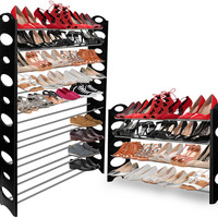 Shoe Rack for 50 Pair Wall Bench Shelf Closet Organizer Storage Box Stand Essential Sleek Modern Design