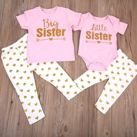 2PCS Set Sister Match Clothes 2017 New Big Sister T-shirt Tops Pant Little Sister Baby Bodysuit+Pant Heart Print Outfit Clothes