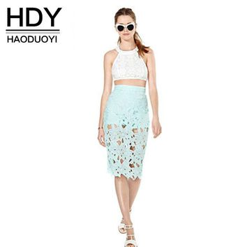 Fashion Summer Skirt Solid Mint Green Hollow Out Skirt Pencil Empire Women Knee-Length Chic Sexy Skirt
