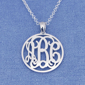 Small Sterling Silver 3 Initials Circle Monogram Pendant Necklace Jewelry 3/4 inch SM41