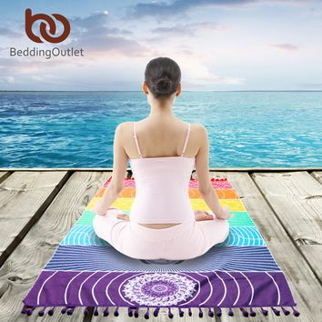 BeddingOutlet 7 Chakra Rainbow Stripes Tapestry Square Mandala Blanket Cotton Rectangle Bohemia Mandala Beach Towel Yoga Mat