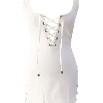 White Front Tie Up Cross Side Bodycon Dress