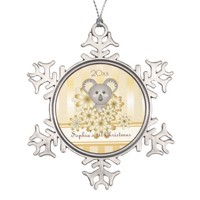 Cute Animal Baby Koala Gold Effect Kids Template Snowflake Pewter Christmas Ornament