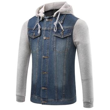 New Denim Jacket Men Hooded Sportswear Outdoors Casual Fashion Jeans Jackets Hoodies Cowboy Mens Jacket And Coat Plus Size 5xl
