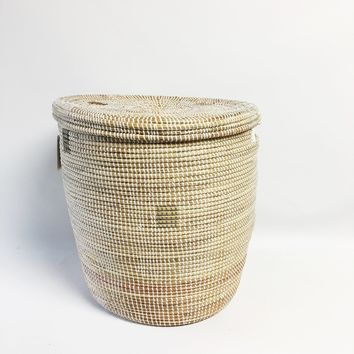 Neutral Woven Storage Basket with Top