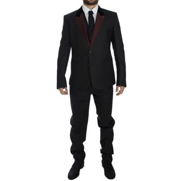 Dolce & Gabbana Gray 3 Piece Slim Fit Suit Tuxedo Smoking