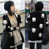 Women's Lovely Skull Knitwear Long Sweaters Cardigans Buttons Top S-M 2 COLORS