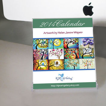 2014 Desk Calendar Whimsical Tree of Life Art Prints, Unique Stocking Stuffer, Signed in CD Jewel Case