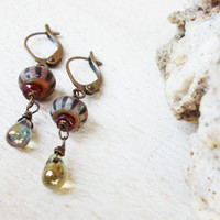 Old world czech glass garnet dangle earrings, red striped ancient style beads, mossy green picasso tear drops, antiqued leverback hooks