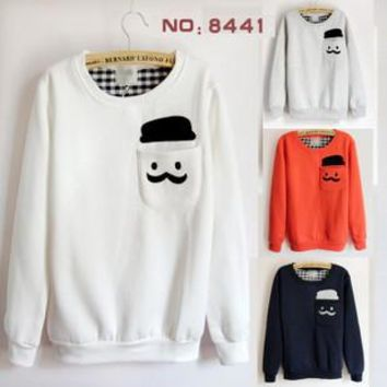 Moustache Patch Pocket Embroidery Loose Fit Sweater For Women