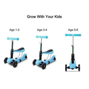 Toddlers to Kids 3 Wheel Wheeled Adjustable T-Bar & Seat Kick Grow with Me Scooter Ages 3-10