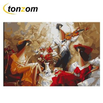 RIHE Music Teatime Diy Painting By Numbers Abstract Oil Painting Cuadros Decoracion Acrylic Paint On Canvas Modern Wall Art