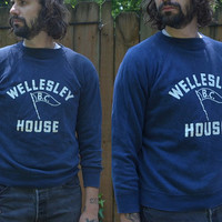 Vintage 1950's Wellesley House BC Navy Blue Cotton Sweatshirt