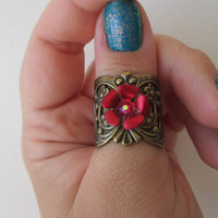 Snow White & Rose Red Ring - Adjustable, Fairytale Jewelry