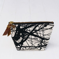Flowie: Zipper Pouch, Tree Pattern, in Black