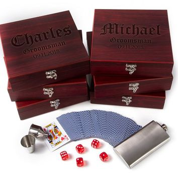 Groomsmen Gifts, Personalized Flask Gift Set, Wedding Gift, Gambler Gift | Rosewood Finish Gift Box, Flask, Dice, Playing Card Deck + Funnel