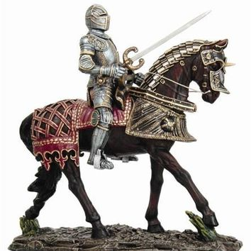 Medieval Knight on Horse with Decorative Armor - 8560
