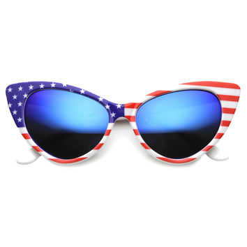 Women's USA Stars And Stripes Mirrored Cat Eye Sunglasses 9779