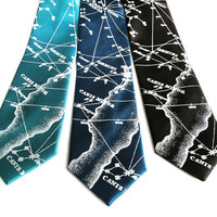 Star Chart Necktie. Constellation Print astronomy tie. Milky Way Galaxy heavens, ice blue print. French blue & more, woven satin fabric.