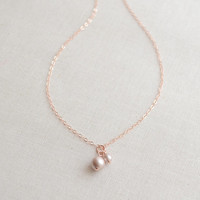 Blush Pearls on Rose Gold Necklace - double pearl necklace - simple pearl jewelry - 1136