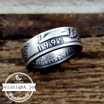 90% Silver 1995 Liberty Quarter Coin Ring