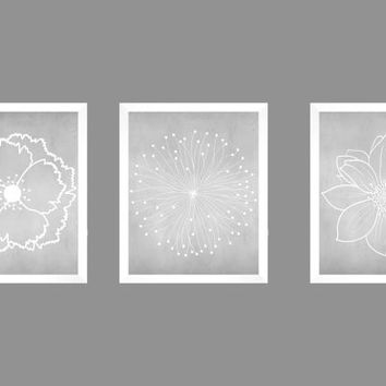 Set of 3 White Flower Blossoms on Gray Chalk Background Prints CUSTOM COLORS Modern Art Prints for Nursery Decor Colors Modern prints  8x10