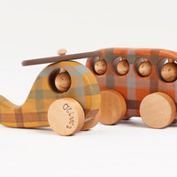 Personalized Wooden Vehicles set, eco friendly Bus and Helicopter