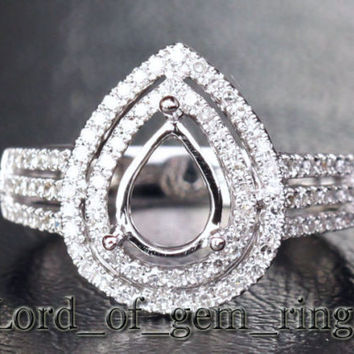 6x8mm Pear Cut 14K White Gold .48ctw Diamonds Engagement Wedding Semi Mount Ring