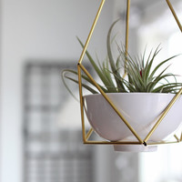Brass Himmeli Hanging Planter no. 3 / Modern Mobile / Geometric Terrarium / Spring Decor