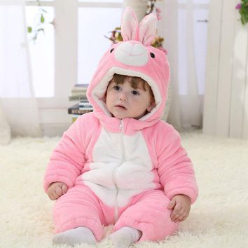 Pink Rabbit Winter Baby Clothes Baby Girl Romper Unisex Christmas Halloween Costume Toddlers Baby Romper 1 & 2 Year Old RL11-15