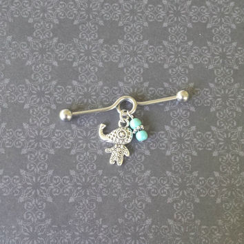 Elephant - Turquoise - Industrial Barbell Piercing 14G