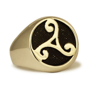 Bronze Celtic Rune Ring Water Element Symbol Celtic Triade in Bronze
