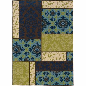 Caspian Brown Blue Geometric Patchwork Outdoor Rug