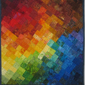 Art Quilt Multi Mosaic 7, Colorful Mosaic Wall Quilt, Wall Hanging, Fiber Arts