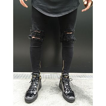 2017 Fashion Hole Jeans Handsome Men Straight Slim Pants Denim Jean Pants Ripped Black Skinny Trousers