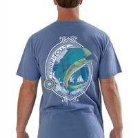 These tees are 100% preshrunk ringspun cotton and are a unisex tee.Short sleeve tee Front: Pocket with Fripp & Folly Logo and RoosterBack:A Mahi Mahi in a round frame FRIPP & FOLLY