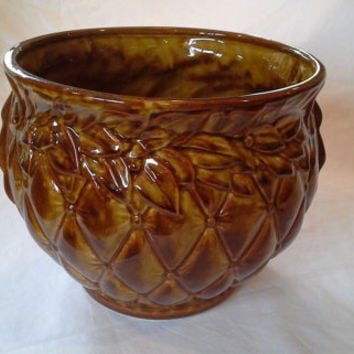 Vintage McCoy Art Pottery Brown Quilted Jardinere Planter Leaves Berries Quilt Diamond Nelson Brush Mc Coy Gold Sand Pot