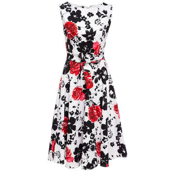 New Women Summer Floral Print Retro Vintage 50s 60s Casual Party Rockabilly Pinup Dresses Ladies Swing Elegant Dresses Plus Size