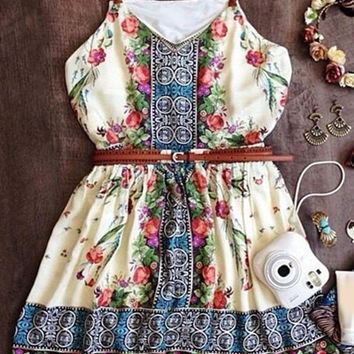 White Bohemian Print Spaghetti Strap Mini Dress