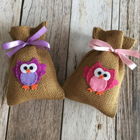 10 owl baby shower burlap favor bags, owl favor bag, baby girl, baby boy.