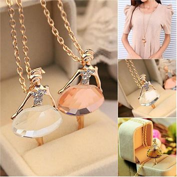 Lovely Cute Ballet Girl Pendant Choker Crystal Chain Necklace For Women