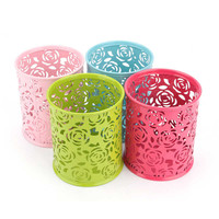 1Pcs Metal Hollow Rose Flower Design Cylinder Pen Pencil Pot Holder Makeup Brush Storage Vintage Women Makeup Holder